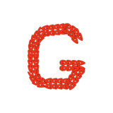 Alphabet knitted red letter on white background. Vector illustration. Knitting alphabet abc G letter in red color on white background. Christmas or New Year Stock Image
