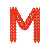 Alphabet knitted red letter on white background. Vector illustration. Knitting alphabet abc M letter in red color on white background. Christmas or New Year Royalty Free Stock Image