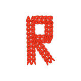 Alphabet knitted red letter on white background. Vector illustration. Knitting alphabet abc R  letter in red color on white background. Christmas or New Year Stock Photos