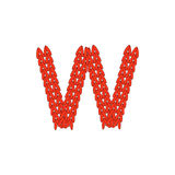 Alphabet knitted red letter on white background. Vector illustration. Knitting alphabet abc letter W in red color on white background. Christmas or New Year Stock Image