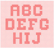 Alphabet knitting part 1. Knitted yarn is made in such a way to form the alphabet and numbers vector illustration