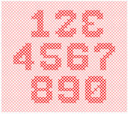 Alphabet knitting part 4. Knitted yarn is made in such a way to form the alphabet and numbers Stock Illustration