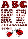 Alphabet in ladybug style, uppercase and lowercase letters in red and black design, numbers, question and exclamation mark and two Stock Photos
