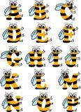 Alphabet latin ABC drôle d'abeille illustration libre de droits