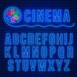 Alphabet latin au néon illustration de vecteur