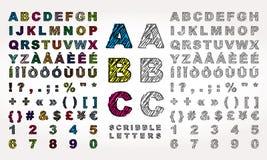 Alphabet latin avec l'effet de griffonnage illustration libre de droits