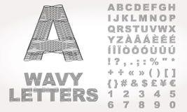 Alphabet latin avec l'effet onduleux illustration stock