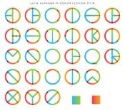 Alphabet latin dans le constructivisme illustration de vecteur