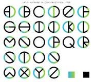 Alphabet latin dans le constructivisme illustration stock