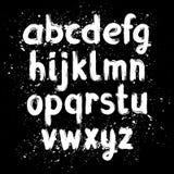 Alphabet latin de brosse tirée par la main d'encre illustration libre de droits