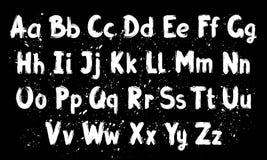 Alphabet latin de brosse tirée par la main d'encre illustration de vecteur