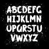 Alphabet latin de brosse tirée par la main d'encre illustration stock