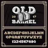 Alphabet latin de vintage dans le vieux style grunge illustration libre de droits