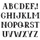 Alphabet latin Ligne grunge police décorative Hippies esquissant la police illustration de vecteur