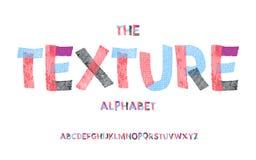 Alphabet latin Police de texture dans le style mignon de la bande dessinée 3d illustration libre de droits