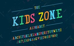 Alphabet latin Police de zone d'enfants dans le style mignon de la bande dessinée 3d illustration de vecteur