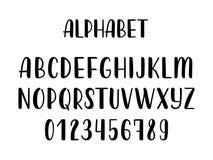 Alphabet latin tiré par la main de brosse de calligraphie des majuscules Vecteur illustration de vecteur