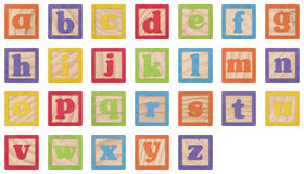 Alphabet Learning Blocks. Painted Lowercase Letters In Wooden Blocks Collection with clipping paths Royalty Free Stock Photos