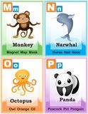 Alphabet learning book page 4. Animal alphabet with cute animals and capital and simple letters M N O P illustration. Specially for preschool children learning Stock Image