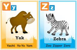 Alphabet learning book page 7. Animal alphabet with cute animals and capital and simple letters Y Z illustration. Specially for preschool children learning books Stock Images