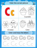 Alphabet learning and color letter C vector illustration