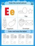 Alphabet learning and color letter E. Alphabet learning letters & coloring graphics printable worksheet for preschool / kindergarten kids. Letter E Royalty Free Illustration