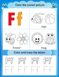 Alphabet learning and color letter F royalty free illustration