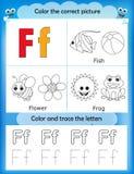 Alphabet learning and color letter F. Alphabet learning letters & coloring graphics printable worksheet for preschool / kindergarten kids. Letter F Vector Illustration