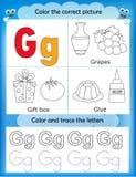 Alphabet learning and color letter G. Alphabet learning letters & coloring graphics printable worksheet for preschool / kindergarten kids. Letter G Royalty Free Illustration