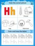 Alphabet learning and color letter H. Alphabet learning letters & coloring graphics printable worksheet for preschool / kindergarten kids. Letter H Stock Illustration
