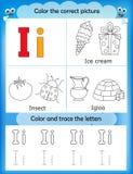 Alphabet learning and color letter I. Alphabet learning letters & coloring graphics printable worksheet for preschool / kindergarten kids. Letter I Royalty Free Illustration