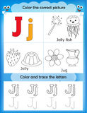 Alphabet learning and color letter J. Alphabet learning letters & coloring graphics printable worksheet for preschool / kindergarten kids. Letter J Stock Illustration