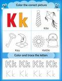Alphabet learning and color letter K. Alphabet learning letters & coloring graphics printable worksheet for preschool / kindergarten kids. Letter K Royalty Free Illustration