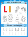 Alphabet learning and color letter L. Alphabet learning letters & coloring graphics printable worksheet for preschool / kindergarten kids. Letter L stock illustration
