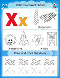 Alphabet learning and color letter X. Alphabet learning letters & coloring graphics printable worksheet for preschool / kindergarten kids. Letter X royalty free illustration