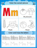 Alphabet learning and color letter M. Alphabet learning letters & coloring graphics printable worksheet for preschool / kindergarten kids. Letter M Vector Illustration