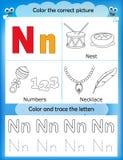 Alphabet learning and color letter N. Alphabet learning letters & coloring graphics printable worksheet for preschool / kindergarten kids. Letter N Stock Illustration