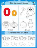 Alphabet learning and color letter O Stock Image
