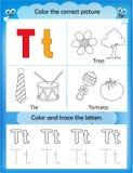 Alphabet learning and color letter T. Alphabet learning letters & coloring graphics printable worksheet for preschool / kindergarten kids. Letter T Vector Illustration