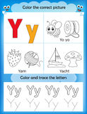 Alphabet learning and color letter Y. Alphabet learning letters & coloring graphics printable worksheet for preschool / kindergarten kids. Letter Y stock illustration