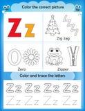 Alphabet learning and color letter Z. Alphabet learning letters & coloring graphics printable worksheet for preschool / kindergarten kids. Letter Z Vector Illustration