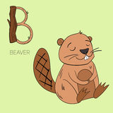 Alphabet letter B beaver children Stock Photography