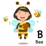 Alphabet Letter B-bee,vector. Illustration Royalty Free Stock Images