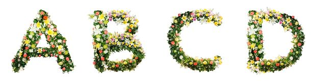 Alphabet letter A B C D made from colorful flowers isolated on w. Hite background. Letter collection design stock photos