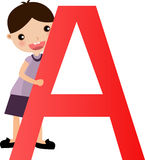 Alphabet letter A (boy) Stock Photos