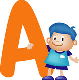 Alphabet letter A (boy). Alphabet letter (boy version), also checkout the girl version Royalty Free Stock Photography