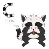 Alphabet letter C coon children. Cartoon hand drawn doodle vector illustration Royalty Free Stock Photo