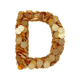 Alphabet letter D with golden coins isolated on white background Stock Photos