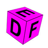 Alphabet letter DEF dice. Alphabet letter DEF pink dice on white background Royalty Free Stock Photography