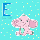 Alphabet letter E elephant children Royalty Free Stock Images